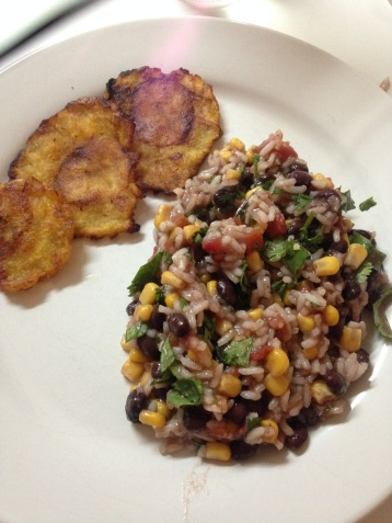 rice and beans with fried plantains
