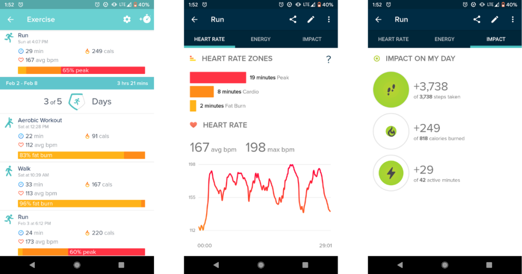 "A screenshot of the exercise tab. A screenshot of a heart rate graph for a 29-minute run. A screenshot of the run's ""impact on my day"" graph."